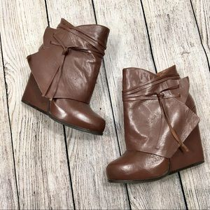 {bcbgeneration} Brown Loralei Wedged Ankle Boots